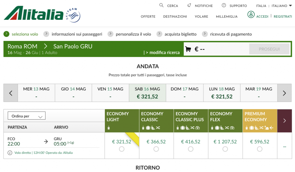 Alitalia pretende retomar voos para o Brasil em 16 de maio